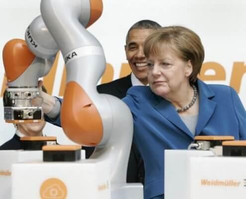 US-Präsident Barack Obama und Bundeskanzlerin Angela Merkel besuchen die Hannover Messe 2016. (Foto: ZVEI)